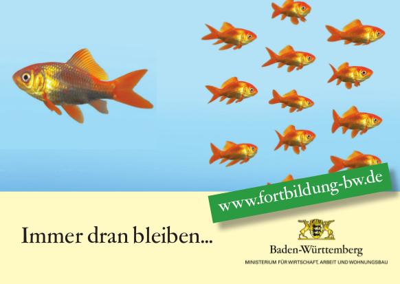 Postkarte Dran bleiben Fische 2016